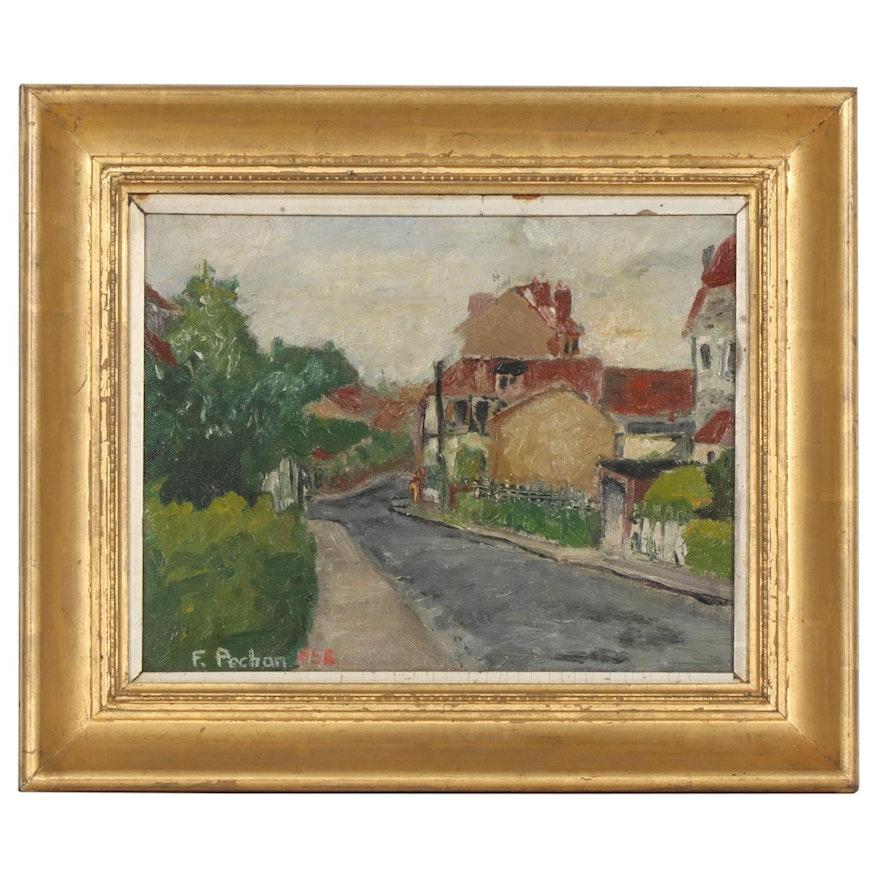 Village Street Landscape Oil Painting, 1958