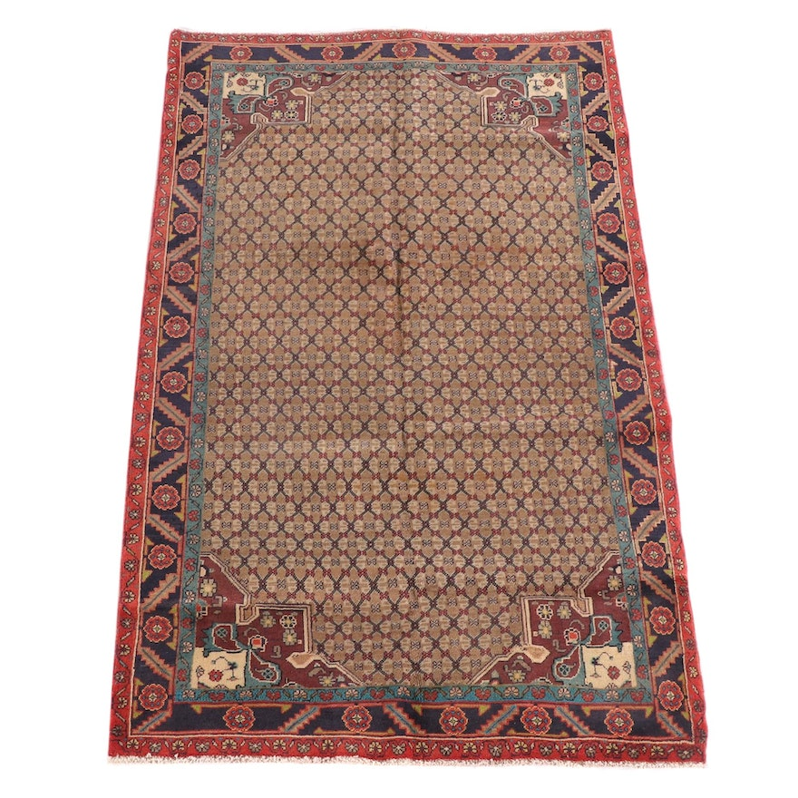 4'11 x 8'1 Hand-Knotted Persian Malayer Wool Rug