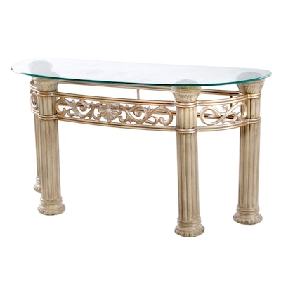 Neoclassical Style Metal-Mounted Composite and Glass Top Console Table