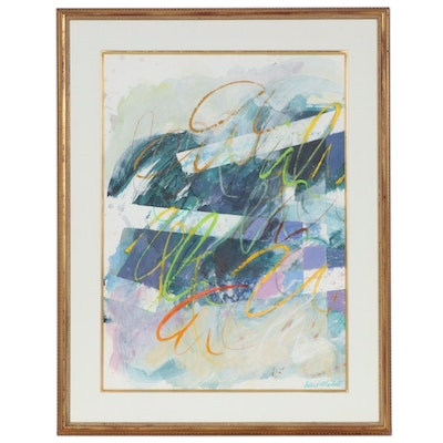 Abstract Mixed Media Painting, Late 20th Century