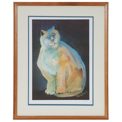 Don Nedobeck Offset Lithograph of Cat Portrait