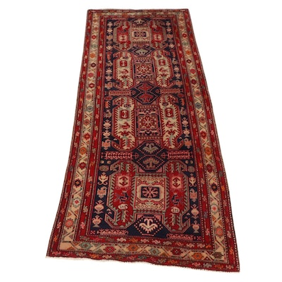4'1 x 10'8 Hand-Knotted Northwest Persian Pictorial Wide Runner Rug, 1960s