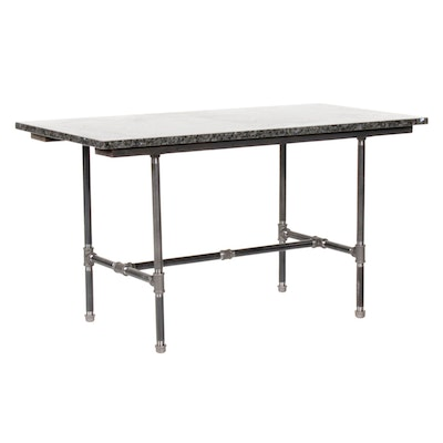 Industrial Style Granite Top Work Table