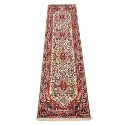 2'7 x 10'6 Hand-Knotted Indo-Persian Heriz Serapi Runner Rug, 2010s