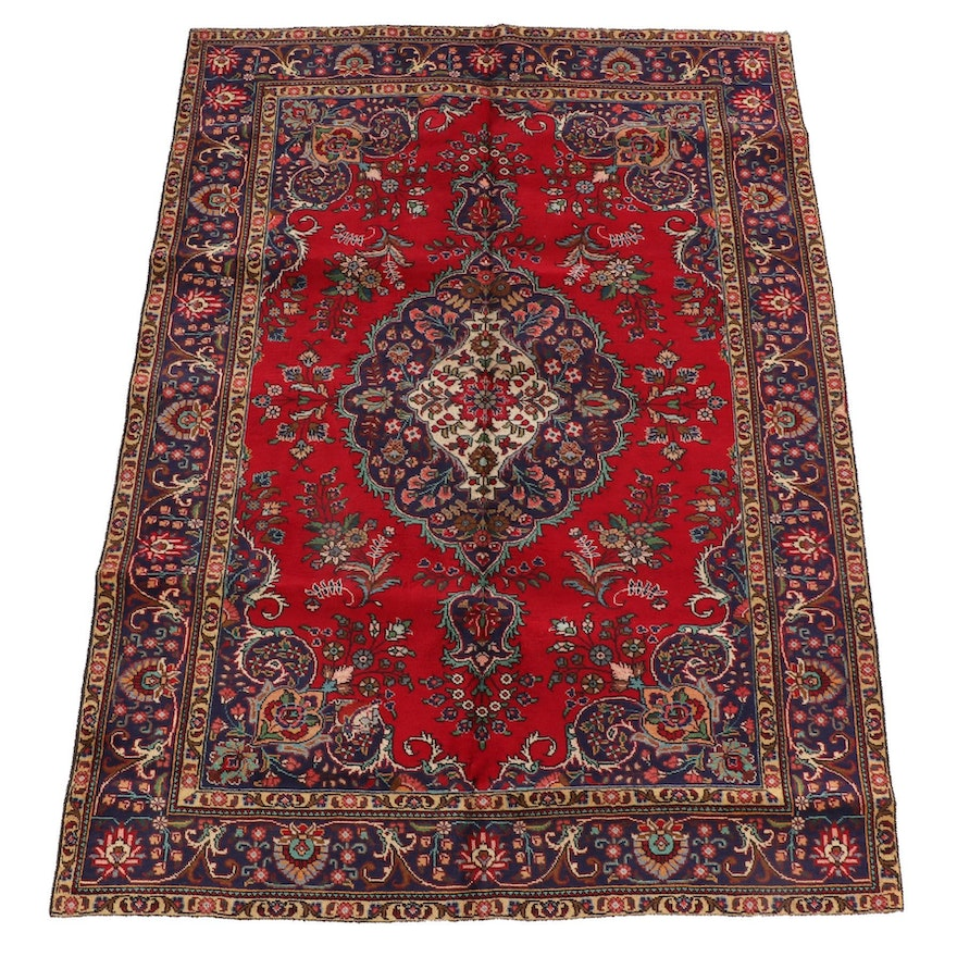 6'6 x 9'4 Hand-Knotted Persian Kerman Wool Rug
