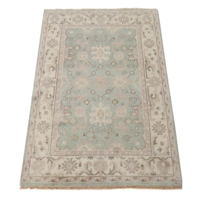 4'0 x 6'2 Hand-Knotted Indo-Turkish Oushak Rug, 2010s