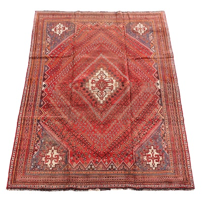 7'1 x 10'2 Hand-Knotted Persian Abadeh Wool Rug