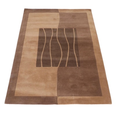 5'7 x 7'8 Hand-Tufted Indian Mid Century Modern Style Rug, 2000s