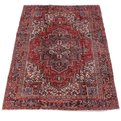 7'9 x 9'11 Hand-Knotted Persian Heriz Wool Rug