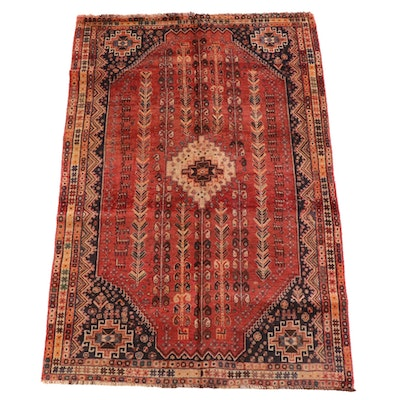 5'1 x 8'1 Hand-Knotted Persian Kamseh Wool Rug