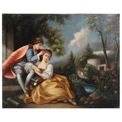 Roccoco Style Figural Oil Painting