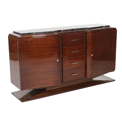 French Art Deco Palisander Buffet with Portoro Marble Top, 1930s