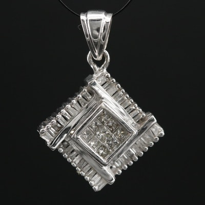 14K Diamond Geometric Pendant