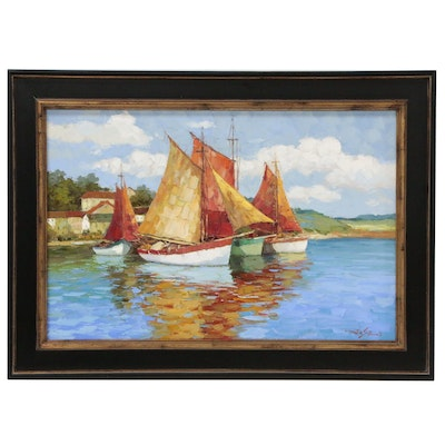 Impasto Oil Painting Italian Harbor