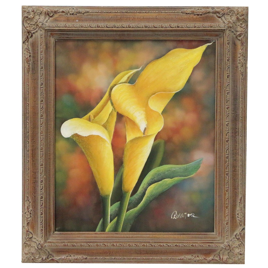 Oil and Acrylic Painting of Calla Lilies
