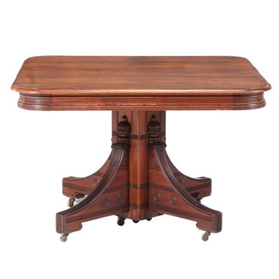 Victorian Walnut Split-Pedestal Extending Dining Table, Late 19th Century