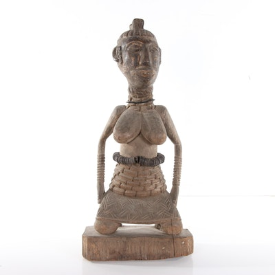 Central African Carved Wood Female Figure