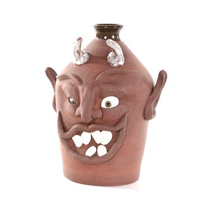 Dan LaFollette Folk Art Ceramic Horned Devil Face Jug