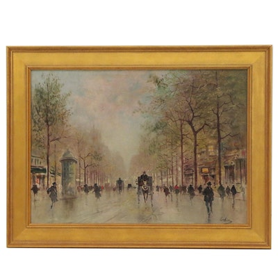 """Parisian Street Scene Oil Painting """"Près le Place de la Bastille"""""""