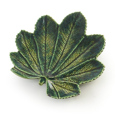 Christian Tortu Majolica Leaf-Shaped Dish