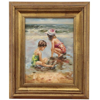 T. Vanderbilt Beach Scene Oil Painting of Children Playing at Seashore