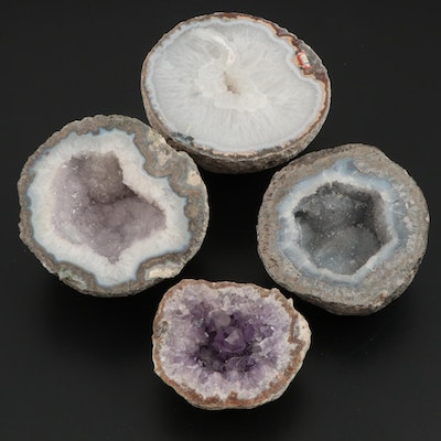 Coarse Crystalline Quartz, Druzy Quartz and Coarse Crystalline Amethyst Geodes