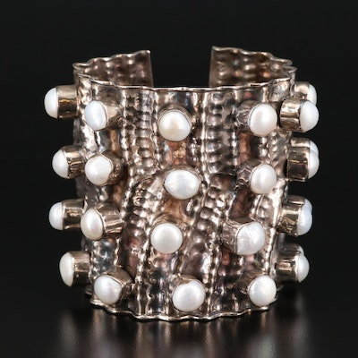 Sterling Silver Cultured Pearl Cuff Bracelet