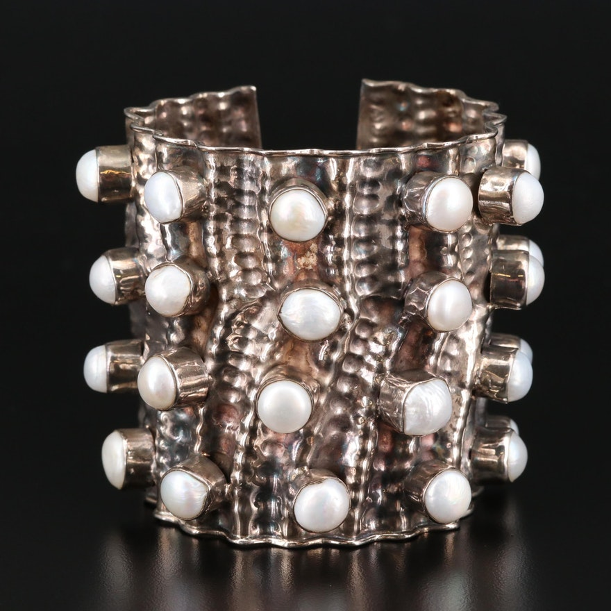 Sterling Silver Cultured Pearl Cuff Bracelet
