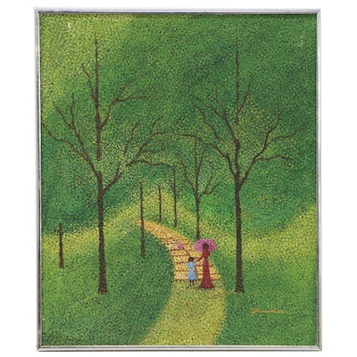 Pointillist Style Oil Painting of Two Figures Walking