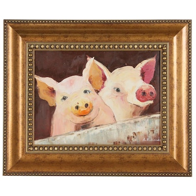 Oil Painting of Two Pigs, Late 20th to Early 21st Century
