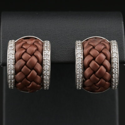 Belle Etoile Sterling Cubic Zirconia and Rubber Basket Weave Hoop Earrings