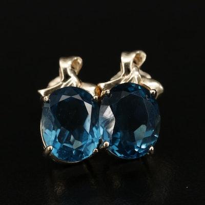 14K Topaz Drop Earrings