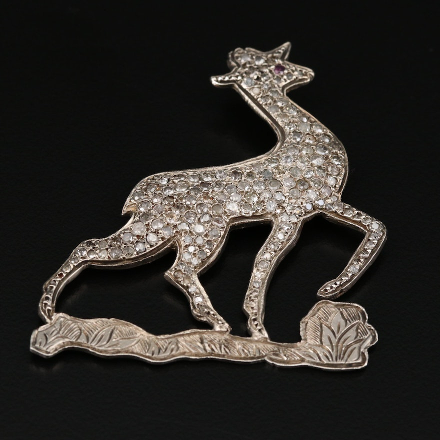 Antique 3.39 CTW Diamond Proud Deer Brooch with 800 Silver Top