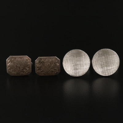 Vintage Sterling Concave Cufflinks and 950 Silver Engraved Cufflinks
