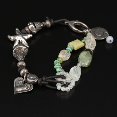 Jes Maharry Sterling Turquoise, Peridot and Moonstone Beaded Bracelet