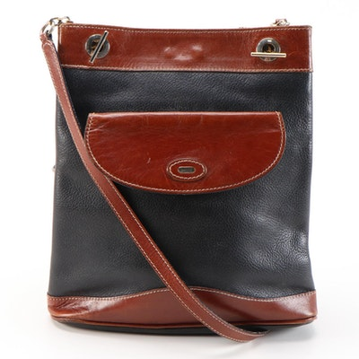 Bally Shoulder Bag in Black Grained Leather with Smooth Brown Leather Trim