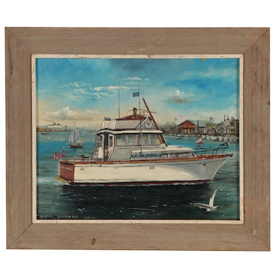 Frank Lovewell Nautical Scene Oil Painting, 1978