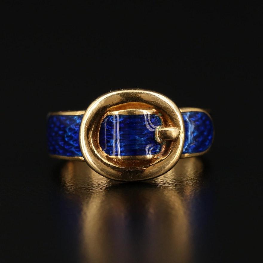 18K and Enamel Buckle Ring