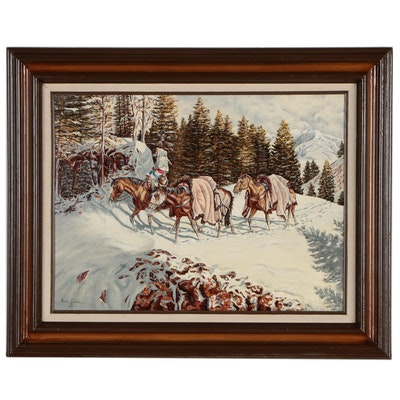 Dave Covin Winter Landscape Oil Painting of Traveler on Horseback, 1984