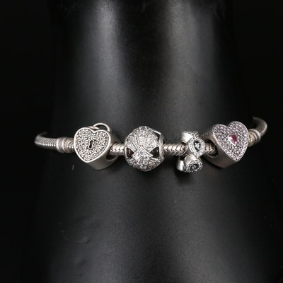 Pandora Sterling Silver Cubic Zirconia Charm Bracelet