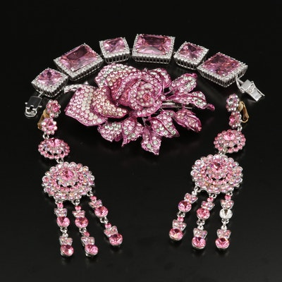 Rhinestone and Cubic Zirconia Barrette, Earrings and Bracelet