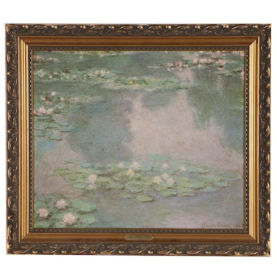 "Offset Lithograph with Hand-painted Texture After Claude Monet ""Water Lilies"""