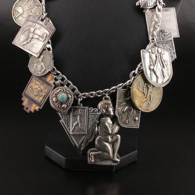 Vintage Sterling Charm Bracelet with Assorted Commemorative Medallions