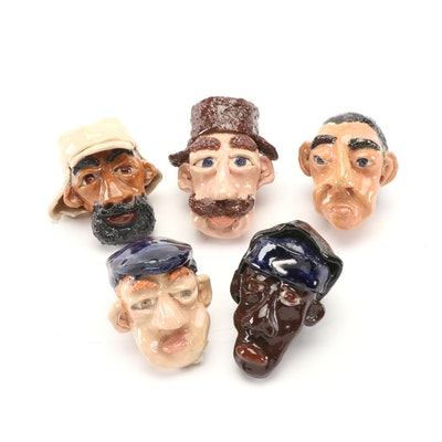 Folk Art Sculpted Clay Portrait Heads