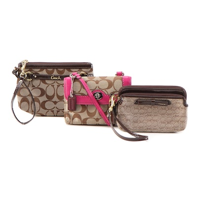 Coach Dylan Crossbody Swing Bag, Poppy Double Zip Wallet and Wristlet Clutch