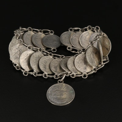 Layered Bracelet with Mexican 10-Centavos Coins and Mexican 20-Centavos Coin