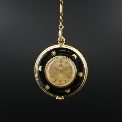 Bucherer Enameled Pendant Watch