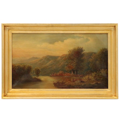 Hudson River School Style Landscape Oil Painting, Mid to Late 19th Century