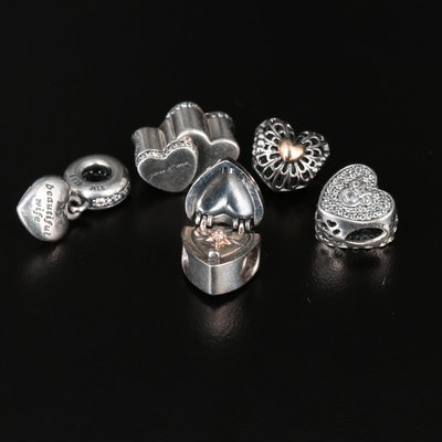 Pandora Sterling Beads Featuring Disney Mickey and Minnie Mouse Heart Bead