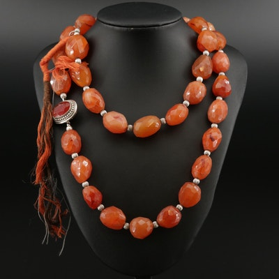 Beaded Agate Necklace With Sterling Silver Carnelian Clasp